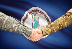 Stock Illustration of Soldiers handshake and US state flag - Virginia