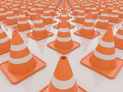 Traffic Cones Isolated on White Background, 3D Render - stock illustration