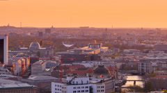Berlin skyline at the sunset from high pov 4k Stock Footage
