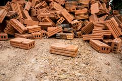 A Brick Construction used for build - stock photo