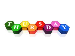thursday in 3d coloured hexagons - stock illustration