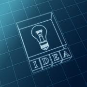 blue idea and bulb - stock illustration