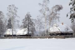 Retro farmhouse winter - stock photo