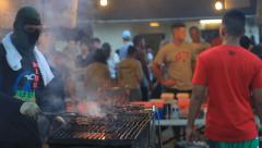 Open Air Barbecue on GUAM, USA- CIRCA February, 2011 Stock Footage