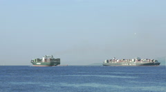 Big Cargo Container Ships View Stock Footage
