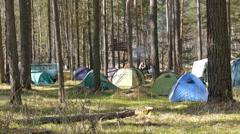 Tourist camp Stock Footage