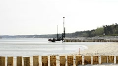 Renovation of the groins in the Baltic Sea Stock Footage
