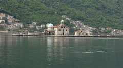 The artificial island Gospa od Škrpjela in Perast Montenegro Stock Footage