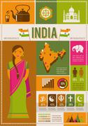 India infographics and elements - stock illustration