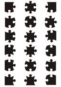 All possible shapes of jigsaw puzzle - stock illustration