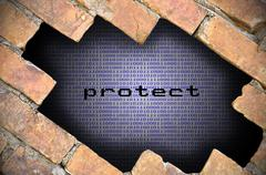 Hole In Brick Wall With Protect Word Inside - stock photo