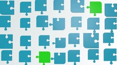 Abstract puzzle pieces in blue and green Stock Footage