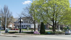 Main street and parallel road in spring bloom Stock Footage
