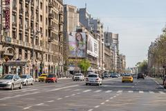 Rush Hour In University Square Downtown Bucharest Stock Photos