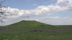 Ancient Scythian burial mound with weather sensors of Ordering of pillars Stock Footage