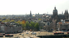 View of historical city center, Amsterdam. Stock Footage