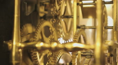 Gear system of an antique clock, close up Stock Footage