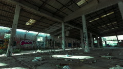 Abandoned derelict factory/warehouse interior motion control timelapse Stock Footage