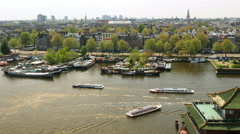 View over Oosterdok canal, Amsterdam Stock Footage