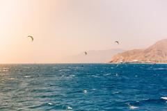 Windsurfers sailing in the Red Sea - stock photo
