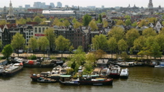 Top view of cluster of living boats, Amsterdam Stock Footage