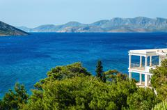 View on sea from typical Greek appartment Greece - stock photo