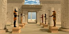 Statues in Pharaoh's Temple - stock illustration