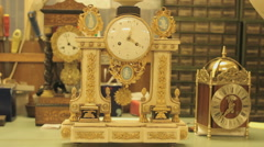 Antique French clock is ticking the time, close up Stock Footage