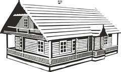 Wood House - stock illustration