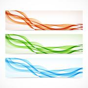 Set of colorful banners with curved lines. Vector illustration - stock illustration