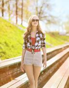 Stylish woman in sunglasses, summer sunny portrait modern beautiful girl in t - stock photo