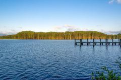 Fishing Camp at sundown - stock photo