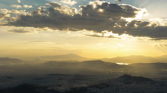 Athens panorama sunset timelapse with lightrays and tracking motion Stock Footage