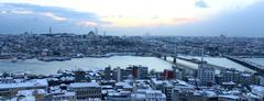 Istanbul panorama, sunset, snow - Turkey - stock photo