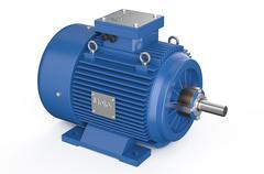 Blue industrial electric motor Stock Illustration