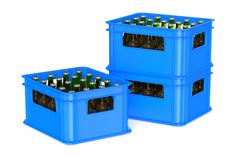 Blue crate full with beer bottles Stock Illustration