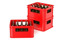 Red crate full with beer bottles Stock Illustration
