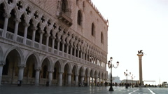 Venice before sunrise - Doge's palace and the winged lion Stock Footage