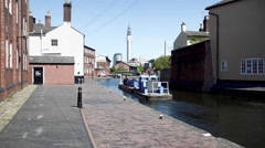 Birmingham Canal Barge Stock Footage