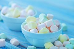 color marshmallow in bowl  - stock photo