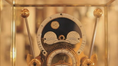 Antique table clock in a clock store, ticking the time Stock Footage