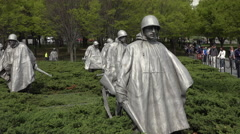 Washington DC Korean War Veterans Memorial soldiers tourism 4K 022 Stock Footage