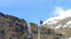 Cauterets snow cable car – exterior france Stock Footage