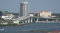 The Waterfront Skyline Of Clearwater Florida And Traffic On Busy Bridge - stock footage