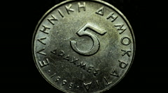 Greek old national coin currency, drachma rotating Stock Footage