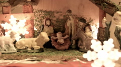 Nativity scene and lights shining Stock Footage