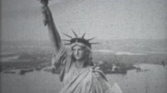 Vintage Old Film Aerial shot of Statue of Liberty Stock Footage