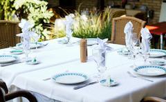 Table in restaurant Stock Photos