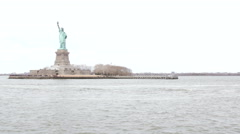 Statue of Liberty in New York, seen from boat Stock Footage