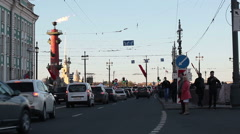 The Vasilevsky Island roads and sidewalks are during May 9. St. Petersburg, Rus Stock Footage